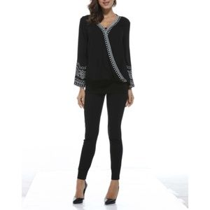 NWT Black Embroidered Bell Sleeve Top